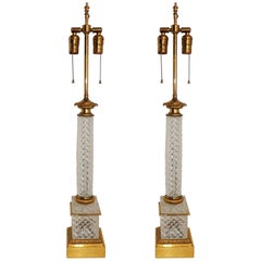 Elegant French Pair of Dore Bronze Cut Crystal Ormolu Column Neoclassical Lamps