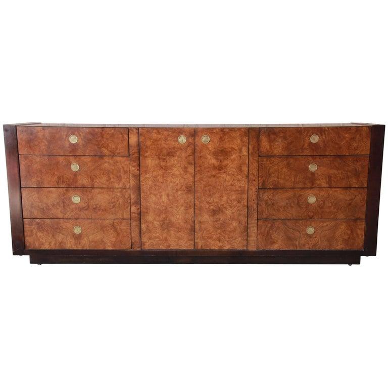 Hollywood Regency Burled Olivewood Credenza by Century Furniture