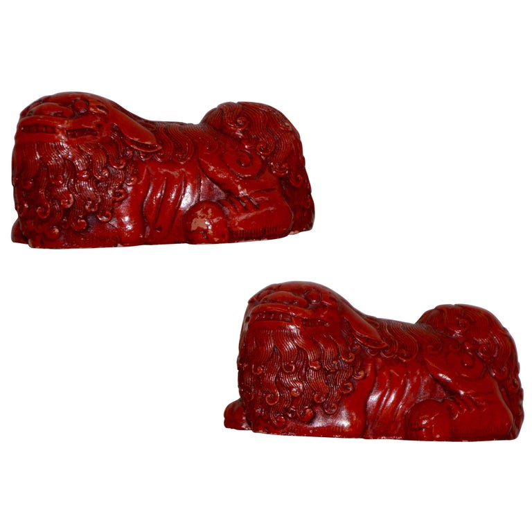 Hand-Carved and Lacquered Pair of Cinnabar Asian Foo Dogs