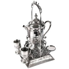Antique Arts & Crafts Silverplate Beverage Dispenser on Stand with Cups