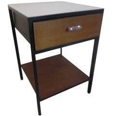 George Nelson for Herman Miller Steel Case Nightstand in Walnut and Black