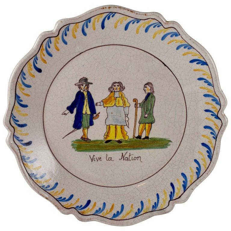 18th Century Nevers French Revolution Tin-Glazed Faïence Dish, Vive La Nation
