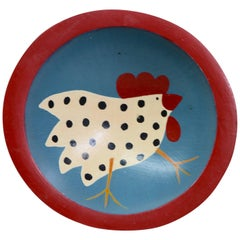 Hand-Painted Chicken on Wooden Bowl Christ Church Fair, 1991