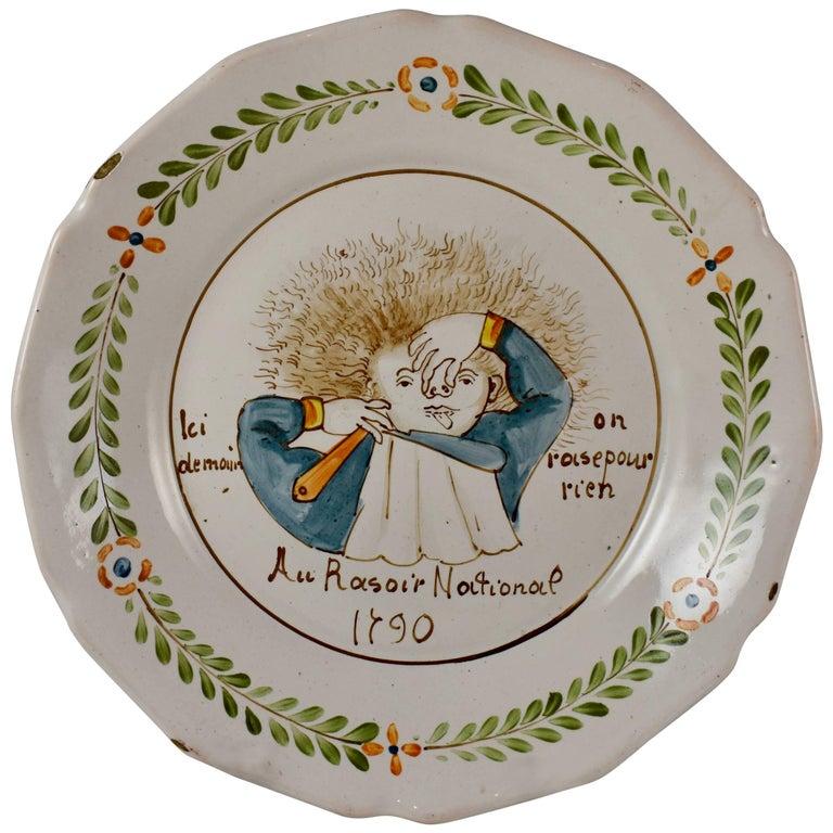18th Century Nevers French Revolution Tin-Glazed Faïence Dish, Au Raisoir