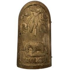 French Wooden Chalice Gilded Cabinet Door Featuring the Passover Lamb, 1700s