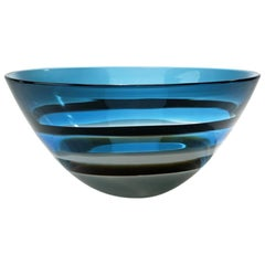 Hand Blown Glass Bowl, Blue Banded Tall Bowl by Siemon & Salazar
