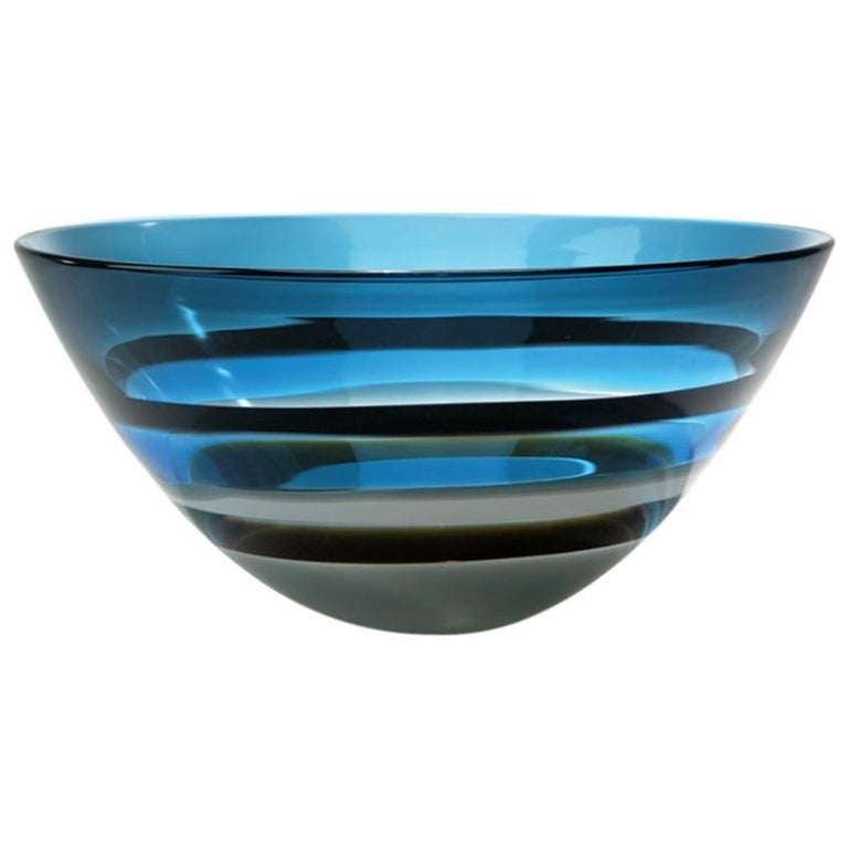 Large Blue Banded Tall Bowl, Blown Glass by Siemon & Salazar