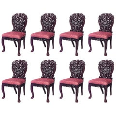 Set of Eight Burmese '19th Century' Carved Walnut Shaped Filigree Side Chairs
