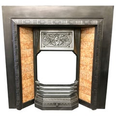Antique Victorian 19th Century Cast Iron Tiled Fireplace Insert