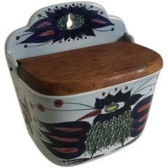 Royal Copenhagen Earthenware Salt Box with Wooden Lid No. 180/261 Wall Display