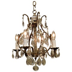 Four-Light Brass, Glass and Crystal Louis XV Style Chandelier Sweden, circa 1910