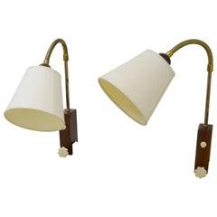 1950s Midcentury Scandinavian Designed Teak Wall or Bedside Lamps