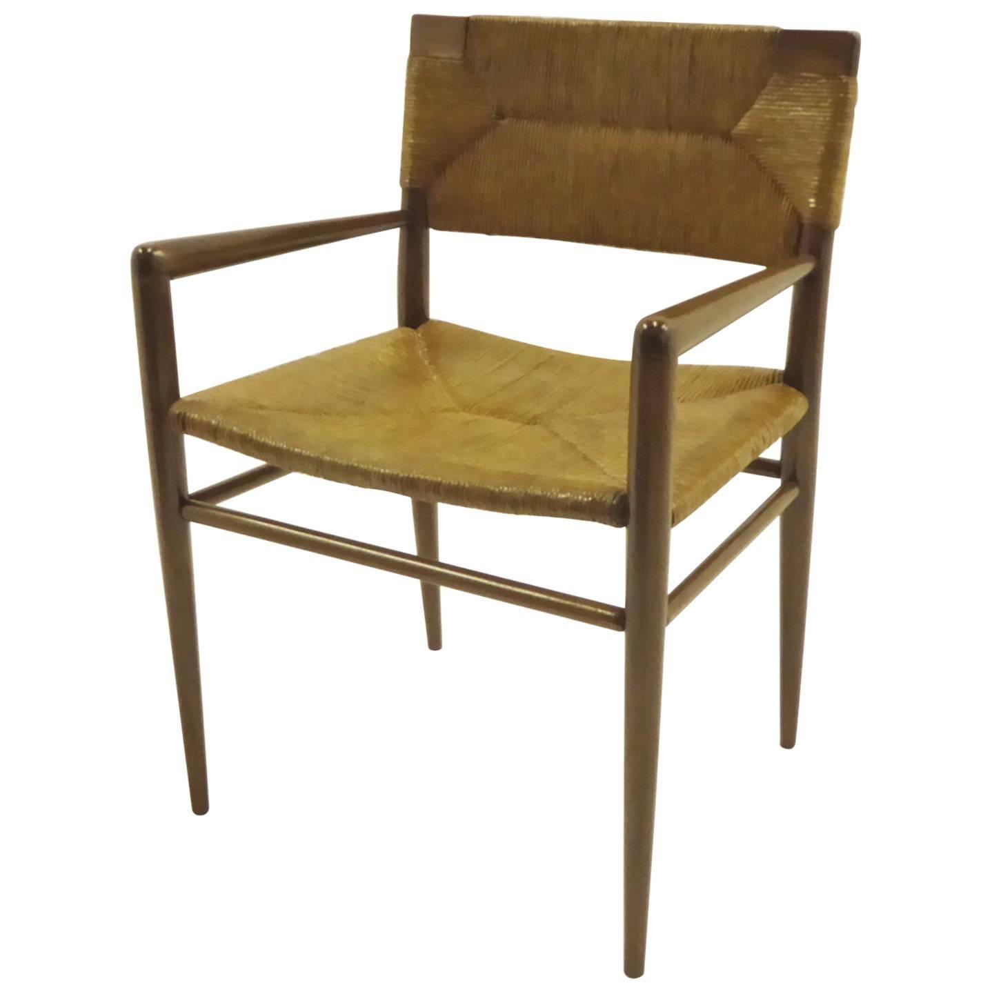 1950s Mel Smilow Danish Modern Woven Rush and Walnut Armchair for Smilow-Thielle