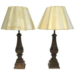 Late 19th Century Carved Wooden Lamps