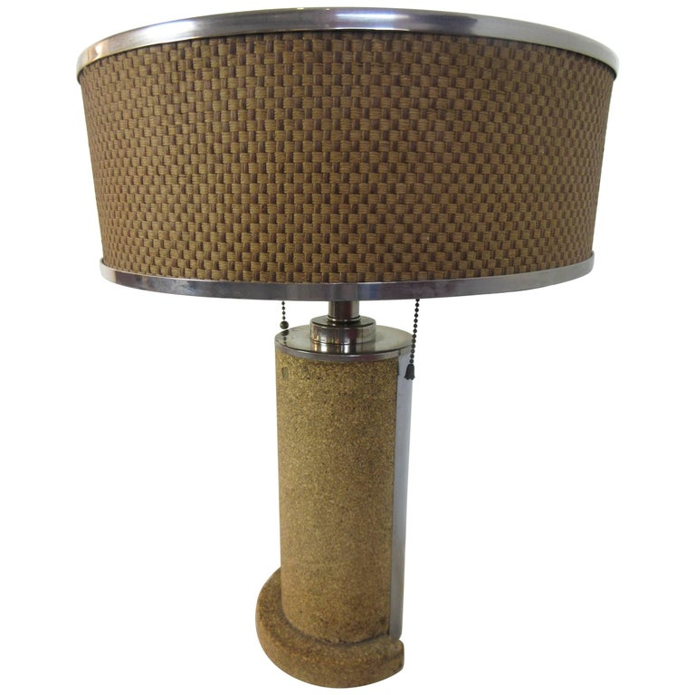 Cork and Chrome Machine Age Lamp in the Manner of Donald Deskey