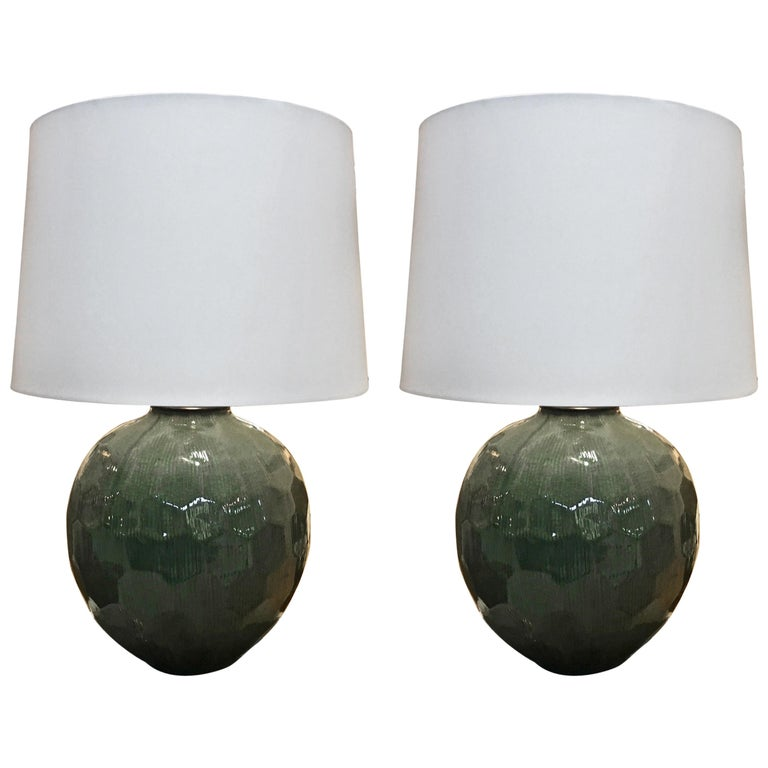 Pair of Ceramic Pottery Lamps, in Green Crackle Glazed Ceramic