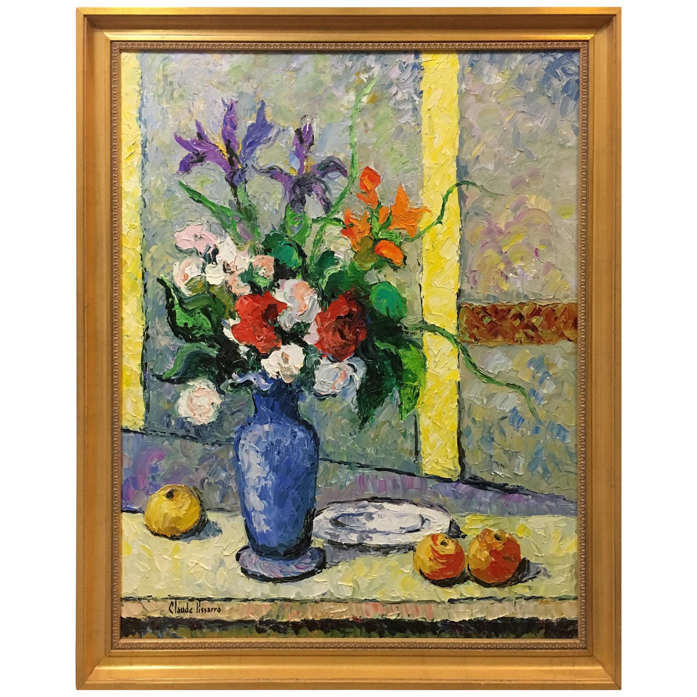 Hugues Claude Pissarro Oil on Canvas Painting Le Bouquet Au Vase Bleu