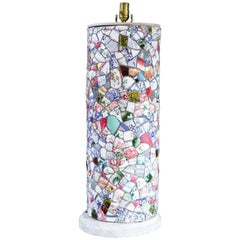 Tall French Porcelain Mosaic Table Lamp, circa 1940