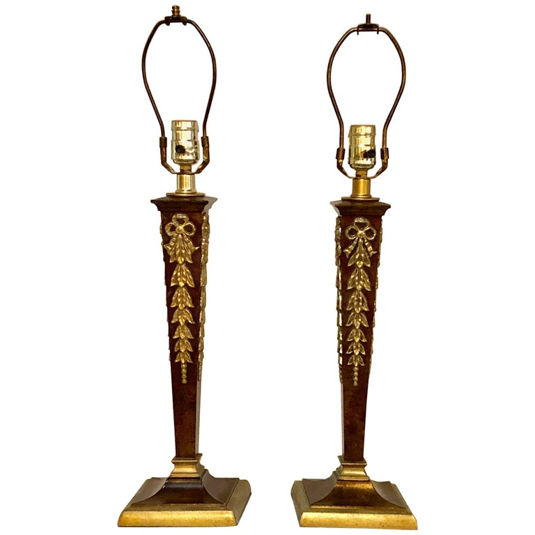 Pair of Brass and Steel Jansen Style French Table Lamps with Custom Shades