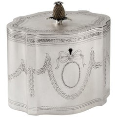Extremely Rare George III Serpentine Tea Caddy, Made by Hester Bateman
