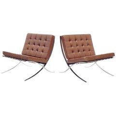 Pair of Barcelona Chairs by Mies Van Der Rohe for Knoll, 1960s Original
