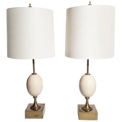 Pair of Ostrich Egg Lamps