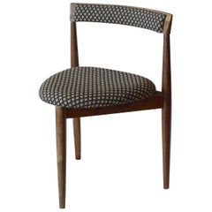 Contemporary Walnut Danish 1940s Style Three-Legged Upholstered Side Chair.