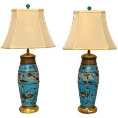Pair of Antique Chinese Table Lamps with Hand-Painted Design of Animals