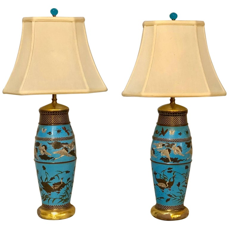 Pair Of Antique Chinese Table Lamps With Hand Painted Design Animals For