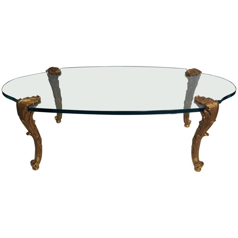 Gilt Bronze and Glass Table Signed P. E. Guerin