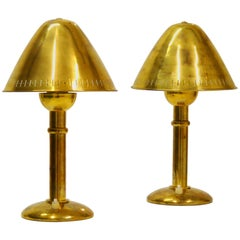 Rare Pair of Brass ASEA Table Lamps with Adjustable Lamp Shade