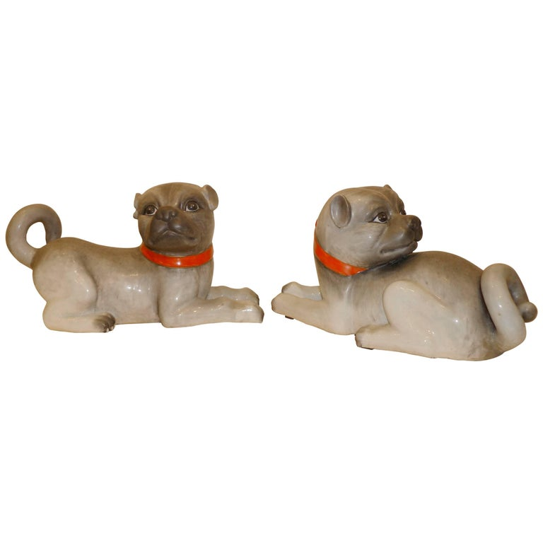 Pair of Fine Lively Modeled Porcelain Dogs For Sale