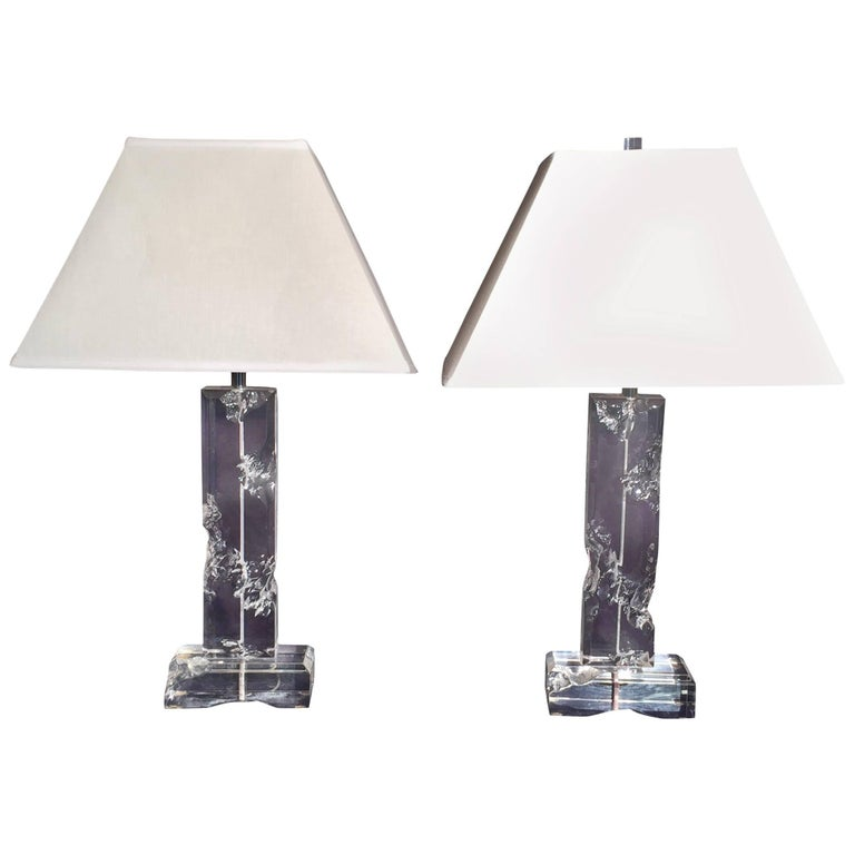 Pair of Midcentury Lucite Table Lamps For Sale