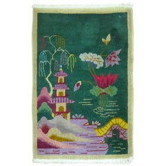 Chinese Art Deco Rug in Jewel Tones