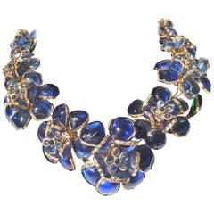 Histoire De Verre, France Necklace, Magnificent Gripoix Poured Glass Necklace