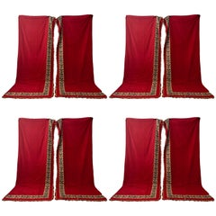 Eight Pieces French Red Cotton Padded Curtains with Wide Weaved Trim and Tassels