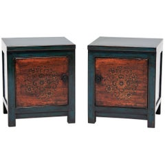 Pair of Early 20th Century Mongolian Autumn Blossom Chests