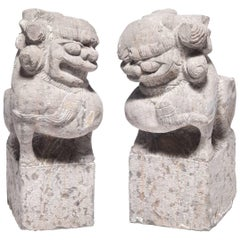 Pair of 19th Century Chinese Stone Fu Dogs