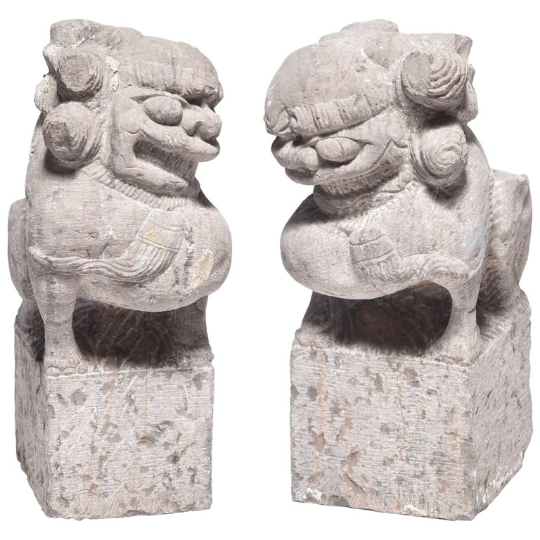 Pair of 19th Century Chinese Stone Fu Dogs