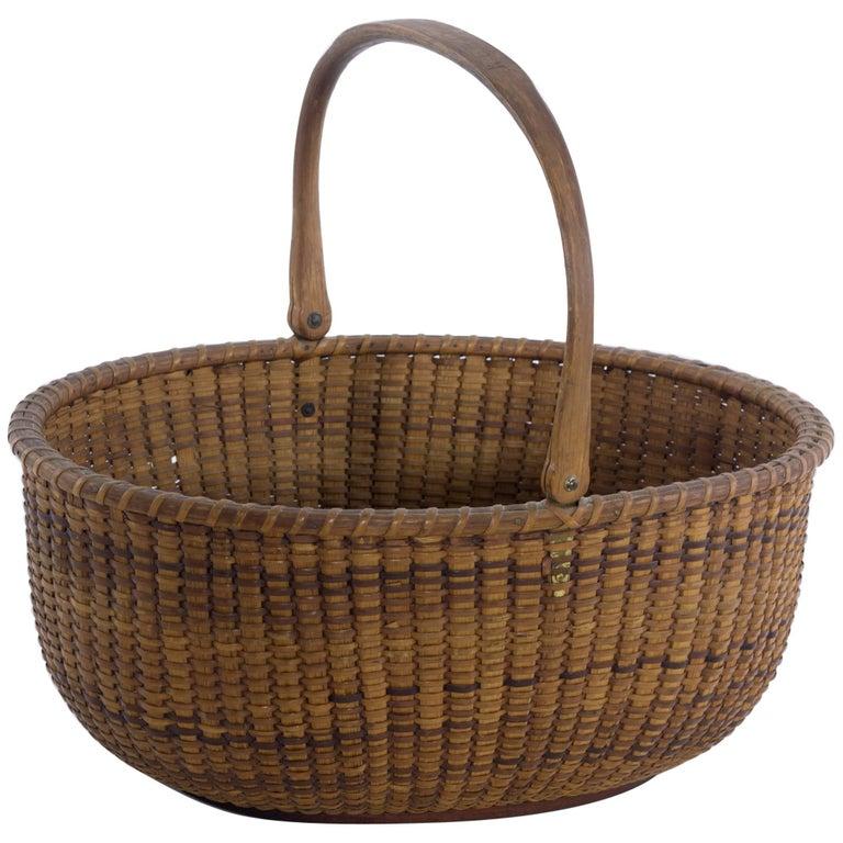 Large Oval Nantucket Lightship Basket, 19th Century