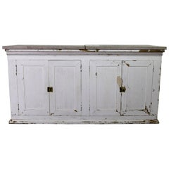 Primitive White Farmhouse Style Four-Doored Buffet Cabinet with Marble Top