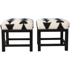Pair of Stools with Wool Upholstery by Hollywood at Home