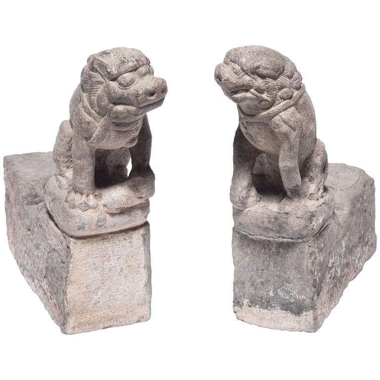 Pair of Early 19th Century Chinese Stone Fu Dogs