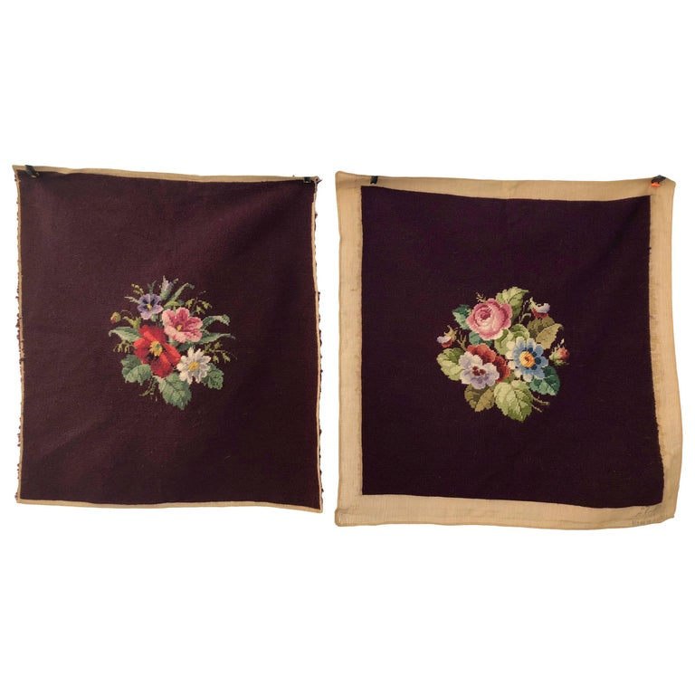 French Antique Needlepoint Pillow or Chair Covers, Plum Color, Set of Two