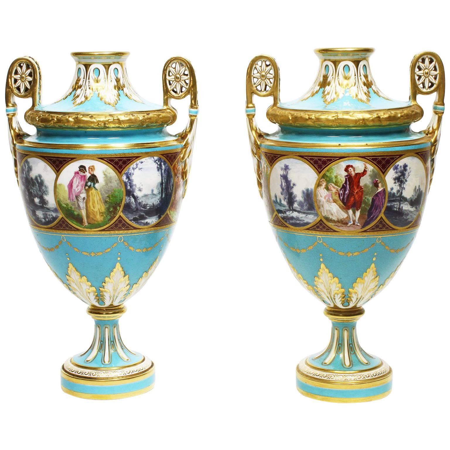 Pair of English 19th Century Turquoise Ground Painted Porcelain Vases by Minton