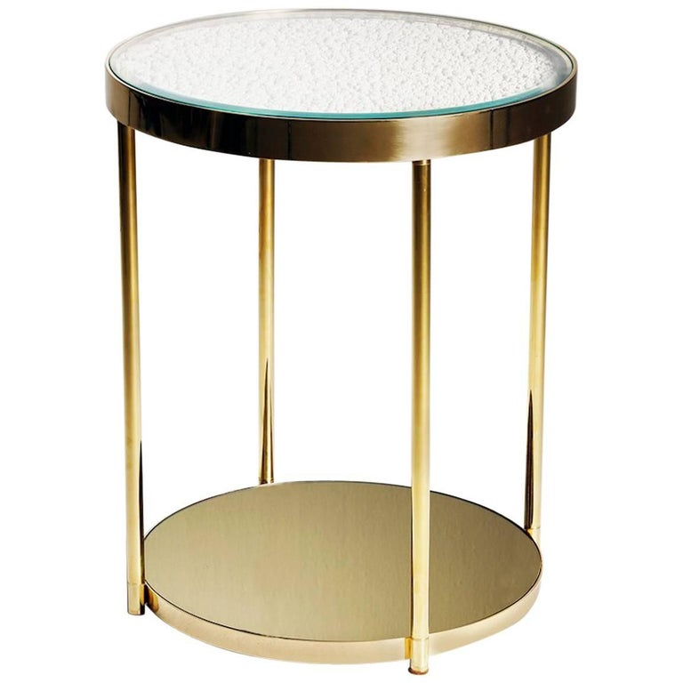 Hemlock Side Table End Table Polished Brass and Gold Mirrored Glass