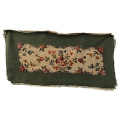 French Antique Needlepoint Bench Cover, Floral Motif in Silk and Wool, 1900s
