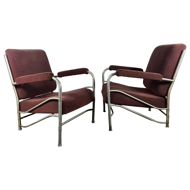 Classic Pair of Art Deco Machine Age Aluminium Lounge Chairs by Warren McArthur