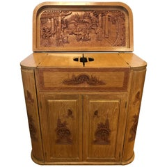 Carved Asian Floating Bar Cabinet Server Buffet, Late 19th Century