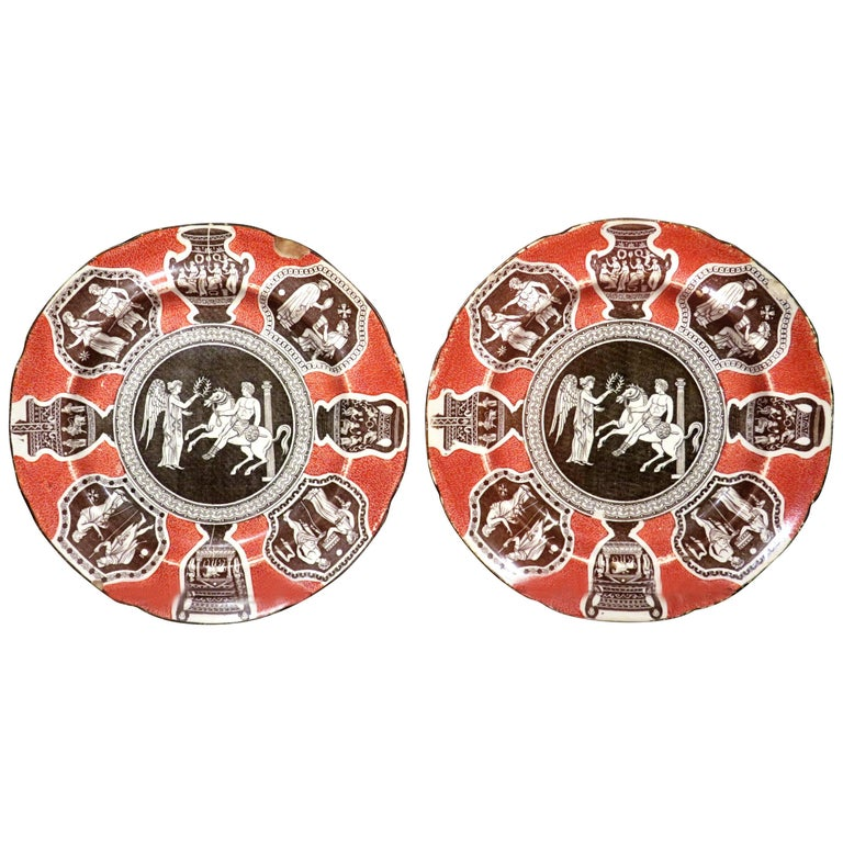 Rare Pair of 19th Century Herculaneum Pottery Plates, Liverpool, circa 1805 For Sale